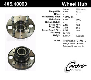 405.4 by CENTRIC - Premium Hub Assembly