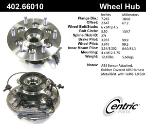 402.6601 by CENTRIC - Premium Hub Assembly