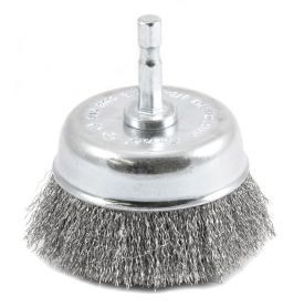 "72732 by FORNEY INDUSTRIES INC. - Cup Brush, Crimped Wire 3"" x .008"" Wire with 1/4"" Hex Shank"
