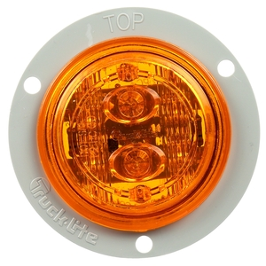 TL30386Y by TRUCK-LITE - 30 Series, Low Profile, LED, Yellow Round, 6 Diode, Marker Clearance Light, PC, Gray Polycarbonate Flange Mount, Fit 'N Forget M/C, 12V