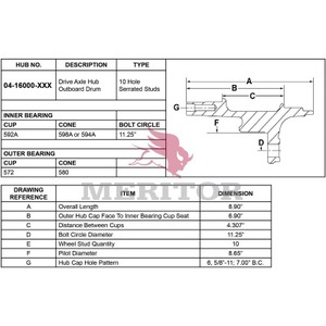 16-16000-1001 by MERITOR - HYDRAULIC BRAKE - HUB AND ROTOR ASSEMBLY