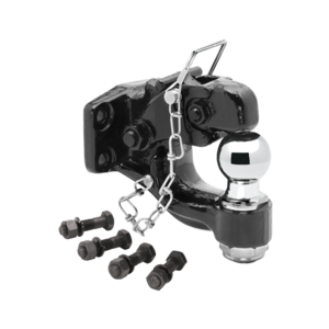 """63011 by CEQUENT ELECTRICAL - Draw-Tite -  Pintle Hook w/2"""" Ball (Inc. Grade 8 Hardware) Hook Rating 16,000 lbs. (GTW), Ball Rating 10,000 lbs. (GTW), 3,000 lbs. (VL), Black"""