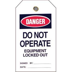 "49310BY by BRADY - Brady® Lockout Tag, Danger: ""Do Not Operate Equipment..."", Vinyl, 5 1/2"" x 3"", 25/Pkg"