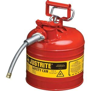 """7220120JR by JUSTRITE - Justrite® Type II Safety Can, 2 gal, 5/8"""" Hose, Red"""