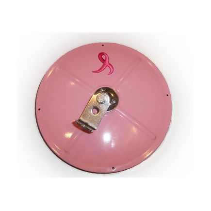 """10801-BC by CHAM-CAL - Breast Cancer Awareness Mirror - 8.5"""" Convex Pink Stainless Steel Mirror"""
