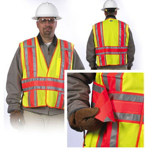 14053 by JJ KELLER - Safety Vest: Type R Class 2 Mesh Expandable Two-Tone - Orange - X-Large/2X-Large