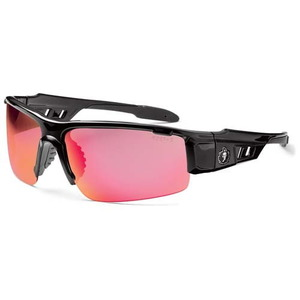 48721 by JJ KELLER - Ergodyne Skullerz Dagr Black Frame Safety Glasses - Red Mirror Lens