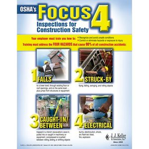 "18164 by JJ KELLER - Jobsite Safety - Construction Safety Poster - ""OSHA's Focus 4"" - ""OSHA's Focus 4 - Inspections for Construction Safety"""