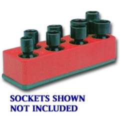 887 by MECHANIC'S TIME SAVERS - 3/8 in. Drive Universal Rocket Red 8 Hole Impact Socket Holder