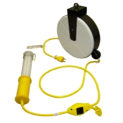 3613-4001 by GENERAL INDUSTRIAL MANUFACTURES - Stubby II® Fluorescent Light with 40' Cord, Reel and Tool Tap