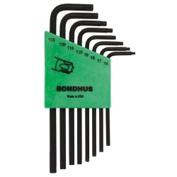 32432 by BONDHUS CORP. - Tamper Proof Torx Wrench Set, 8 Piece, T6 to T25, Long Length, L Shaped, Twist-to-Lock Plastic Case