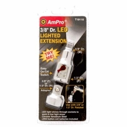 """T19110 by AMPRO TOOLS - 3/8"""" Drive Lighted Extension with Adapter"""