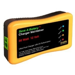2365 by GRANITE DIGITAL - Save A Battery Charger and Maintainer, 50 Watt, for 12 Volt, with 10' Power Cord and 6' Cables