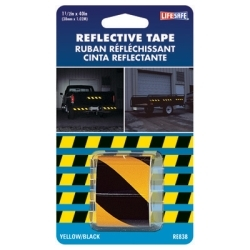 "RE838 by INCOM MFG - Reflective Safety Tape, Yellow/Black Slanted, 1-1/2"" x 40"" Roll, Highly Reflective, Engineer Grade"