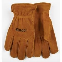 50M by KINCO INTERNATIONAL - Work Gloves, Unlined Golden Suede Cowhide, Keystone Thumb, Shirred Elastic Back, Medium