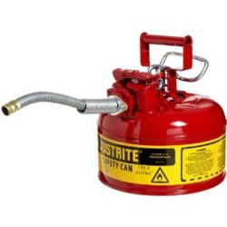 """7210120 by JUSTRITE - Red Metal Safety Can, Type ll, One Gallon Capacity, with 5/8"""" x 9"""" Flexible Metal Hose, for Gasoline"""