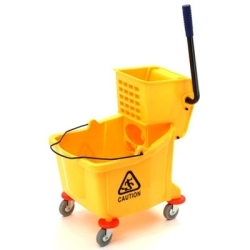 7030 by LAITNER BRUSH PRODUCTS - Plastic Yellow Mop Bucket, with Wringer, 26 Quart Capacity, with Non-Marking Casters