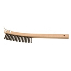 """942 by LAITNER BRUSH PRODUCTS - Wire Scratch Brush, with Scraper End, 3 x 19 Row Curved Bristles, 14"""" Overall Length, Wooden Handle"""