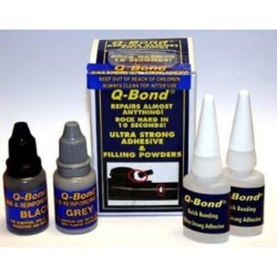 QB2 by Q-BOND - Quick Bonding Adhesive Kit, Two 10ml Bottles Adhesive, with Black and Gray Filling Powders
