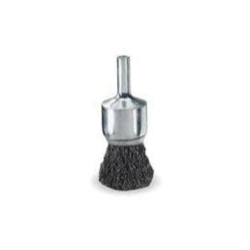 "10005 by WEILER - Wire End Brush, 3/4"" Diameter, .006 Crimped Wire, 1/4"" Round Stem, 22,000 RPM Max"