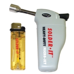 MJ310 by SOLDER-IT, INC. - Butane Torch, Heavy Duty, Extended Nozzle, Palm Sized, Automatic Windproof Ignition, Child Resistant