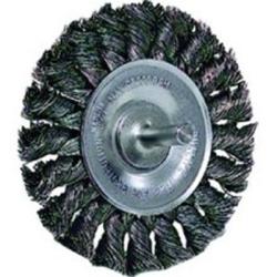 """17687 by WEILER - Wire Wheel, 4"""" Diameter, .014 Knotted Wire, 1/4"""" Round Stem, 20,000 RPM Max"""