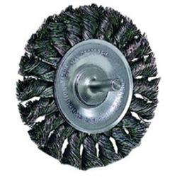 """17680 by WEILER - Wire Wheel, 3-1/4"""" Diameter, .0118 Knotted Wire, 1/4"""" Round Stem, 25,000 RPM Max"""