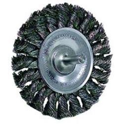 """17681 by WEILER - Wire Wheel, 3-1/4"""" Diameter, .014 Knotted Wire, 1/4"""" Round Stem, 25,000 RPM Max"""