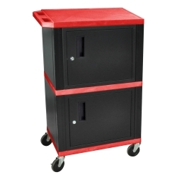 """WT50R by LUXOR - 42"""" Red Tuffy Audio-Visual Double Cabinet - 200 lb. Capacity"""