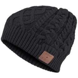 VG002-BK by MOUNTAIN - Bluetooth Cable Knit Beanie - Black