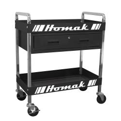 "BK06030210 by HOMACK MFG - Metal Service Cart-Black 30"" 1-Drawer"