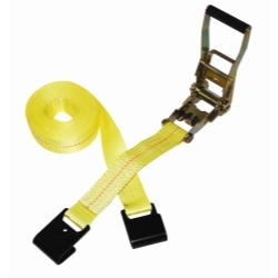 """557 by S-LINE - Flat Bed Trailer Ratcheting Strap, 2"""" x 27', with Flat Hooks, 3,333 lbs Load Limit, CVSA and DOT"""