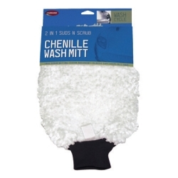40304 by CARRAND - Wash Mitt, 2 in 1, Deep Pile Chenille with Scrub Netting, Elastic Cuff, Carded