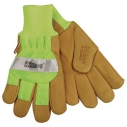 1939KWM by KINCO INTERNATIONAL - Work Gloves, Grain Pigskin Palm, Hi-Vis Green Back and Cuff, Heatkeep Insulated Lining, Medium