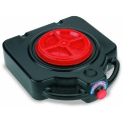 """LX-1632 by AIRGAS SAFETY - Plastic Drain Pan, Black, 15 Quart Capacity, 8"""" Opening with Screw Cap, Roll Wheels, Handles"""