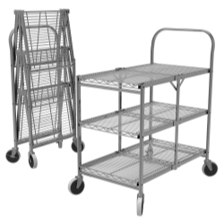 WSCC-3 by LUXOR - Three-Shelf Collapsible Wire Utility Cart