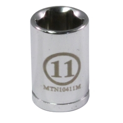 """10411M by MOUNTAIN - 1/4"""" Drive 11MM 6 Point Socket"""