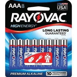 824-8CD by RAYOVAC BATTERIES - Rayovac Alkaline Carded AAA 8-Pack
