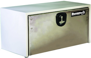 1702815 by BUYERS PRODUCTS - 18x18x60 Inch White Steel Truck Box With Stainless Steel Door