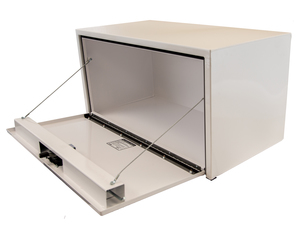 1734400 by BUYERS PRODUCTS - 24x24x24 Inch White Steel Underbody Truck Box With 3-Point Latch