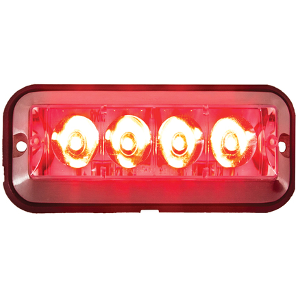 8891008 by BUYERS PRODUCTS - Rec. Red LED Quad Flash Strobe Light, 12-36V