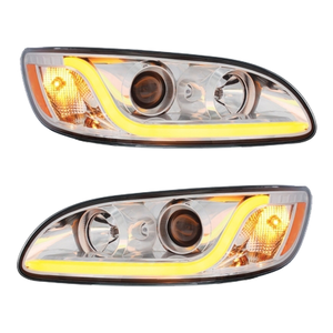 KIT1000 by UNITED PACIFIC - Peterbilt Projection Headlights Pair w/ Chrome Trim & LED Light Bar
