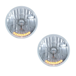 "S2010LED-2 by UNITED PACIFIC - Pair (2) of 7"" Crystal Headlights w/ 10 Amber LED"