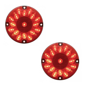 """39961B-2 by UNITED PACIFIC - Pair of Red 17 LED 7"""" Round Bus Truck RV Brake Stop Turn Tail Lights"""