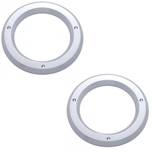 "10484-2 by UNITED PACIFIC - (2) Round Chrome Bezels / Covers 4"" Grommet Mounted LED Stop Turn Tail Lights"