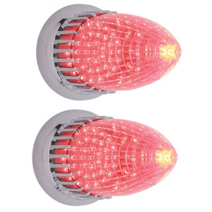 CTL5913LED-2 by UNITED PACIFIC - (2) 1959 Cadillac Style 40 LED Red Stop Turn Signal Tail Lights / Flush Mount