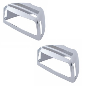 34061-2 by UNITED PACIFIC - One Pair of Chrome Peterbilt Turn Signal Covers with Visors