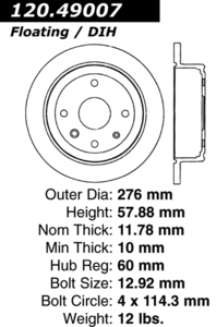 120.49007 by CENTRIC - Premium Brake Rotor