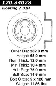 120.34028 by CENTRIC - Premium Brake Rotor
