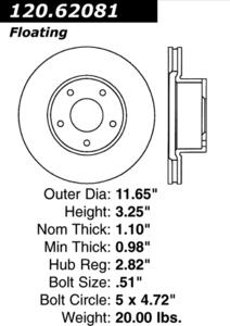 120.62081 by CENTRIC - Premium Brake Rotor
